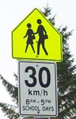 Yellow-Green School Zone Sign